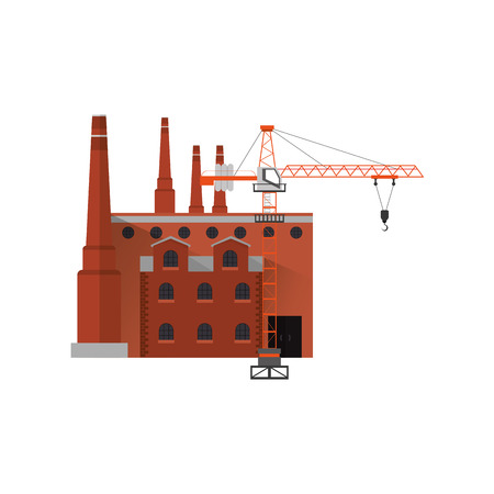 flat design factory and  industrial tower  crane icon vector illustration