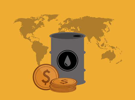 polluting: flat design oil barrel with  petroleum related icons image vector illustration