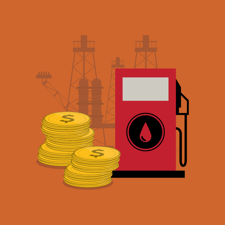 flat design gas pump with petroleum oil related icons image vector illustration