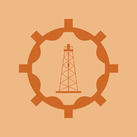 petrochemical plant: flat design petroleum oil  extraction and refinement related emblem image vector illustration