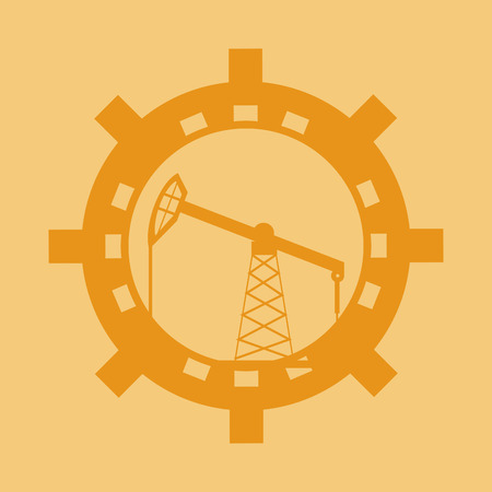flat design petroleum oil  extraction and refinement related emblem image vector illustration