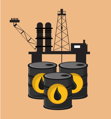 petrochemical plant: flat design petroleum oil  extraction and refinement related icons image vector illustration