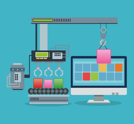 connection block: Blocks factory and computer icon. Industry app and construction theme. Colorful design. Vector illustration Illustration
