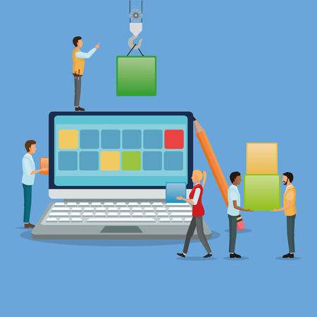 connection block: Avatar people with blocks and laptop icon. Industry app and construction theme. Colorful design. Vector illustration Illustration