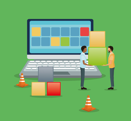 Avatar people with blocks and laptop icon. Industry app and construction theme. Colorful design. Vector illustration Illustration