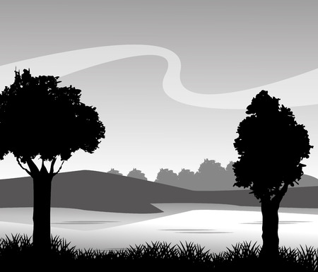 Grass tree mountain and landscape silhouette icon. lawn plant nature and field theme. Vector illustration