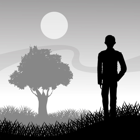 man on the moon: Grass moon and tree with man silhouette icon. lawn plant nature and field theme. Vector illustration