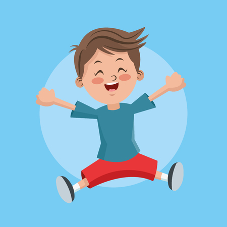 happyness: Cartoon and happy boy kid. Childhood student and happyness theme. Colorful and circle design. Vector illustration