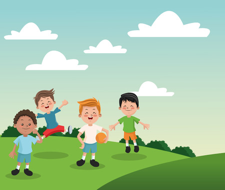 happyness: Group of happy boys cartoon kids. Childhood student and happyness theme. Colorful design. Vector illustration Illustration