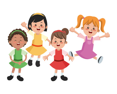 happyness: Group of happy girls cartoon kids. Childhood student and happyness theme. Colorful design. Vector illustration