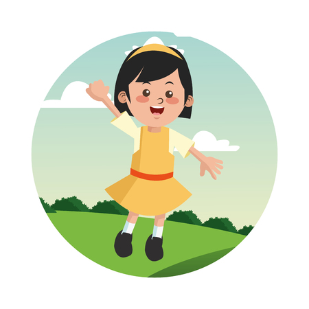 happyness: Cartoon and happy girl kid. Childhood student and happyness theme. Colorful and circle design. Vector illustration