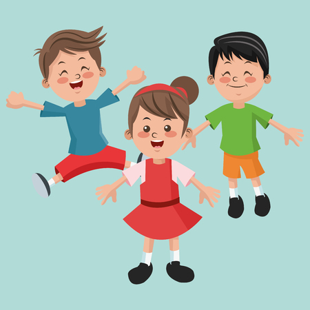 happyness: Group of happy girls and boys cartoon kids. Childhood student and happyness theme. Colorful design. Vector illustration