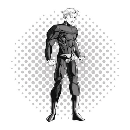 pointed: Superhero man cartoon with uniform icon. Comic power costume and hero theme. Black and white design. Pointed background. Vector illustration