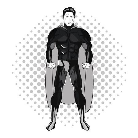 design costume: Superhero man cartoon with uniform icon. Comic power costume and hero theme. Black and white design. Pointed background. Vector illustration