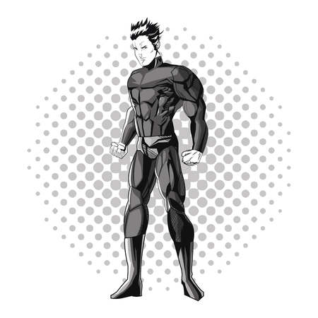Superhero man cartoon with uniform icon. Comic power costume and hero theme. Black and white design. Pointed background. Vector illustration