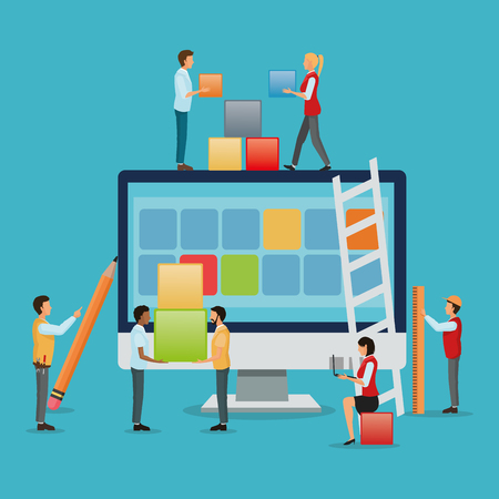 Avatar people with blocks and computer icon. Industry app and construction theme. Colorful design. Vector illustration