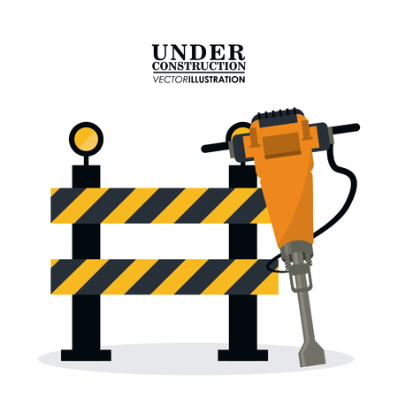 demolishing: Barrier and demolishing drill icon. Under construction and repair theme. Isolated design. Vector illustration