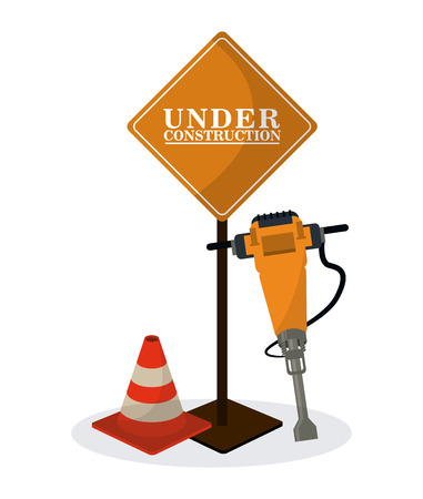 demolishing: road sign cone and demolishing drill icon. Under construction and repair theme. Isolated design. Vector illustration