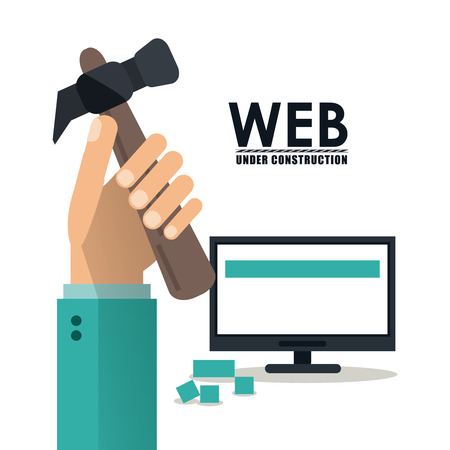 computer repair: Computer hand and hammer icon. Under construction and repair theme. Isolated design. Vector illustration