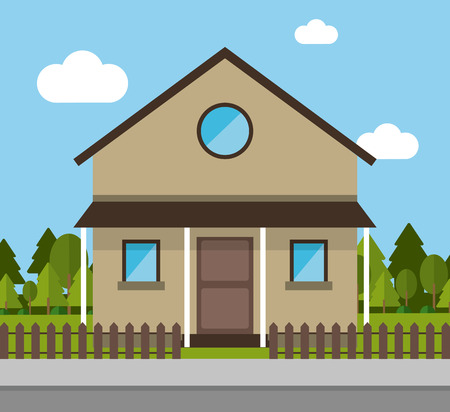 residential neighborhood: Home building with clouds and trees icon. House architecture family and real estate theme. Colorful design. Vector illustration
