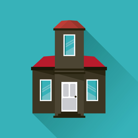 windows home: Home building with door and windows icon. House architecture family and real estate theme. Colorful design. Vector illustration Illustration
