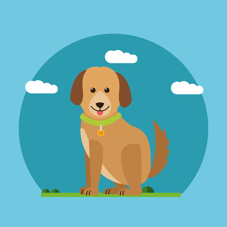 happyness: Dog and clouds icon. Animal pet happyness and nature theme. Colorful design. Vector illustration