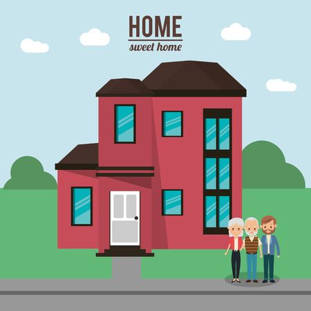 family man: House father man and grandparents icon. Home family and real estate theme. Colorful design. Vector illustration