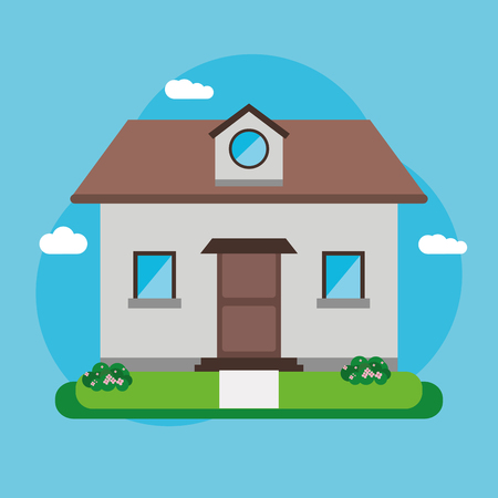 residential neighborhood: Home building with clouds icon. House architecture family and real estate theme. Colorful design. Vector illustration
