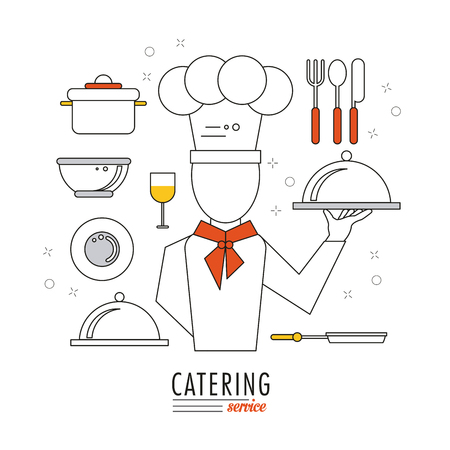 Chef plate cup cultery and bowl icon. Catering service restaurant and menu theme. Vector illustration