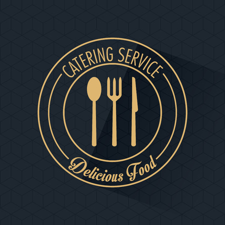 catering service: Fork spoon knife and cutlery icon. Catering service restaurant and menu theme. Vector illustration