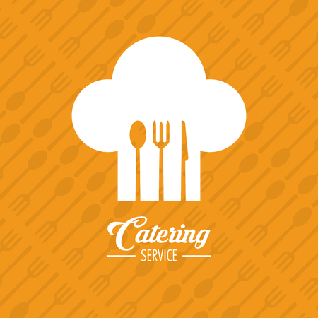 catering service: Fork spoon knife cutlery inside chefs hat icon. Catering service restaurant and menu theme. Vector illustration