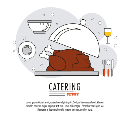 catering service: Chicken plate and cutlery icon. Catering service restaurant and menu theme. Vector illustration
