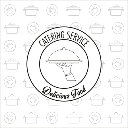 cooking pot: Plate hand and cooking pot icon. Catering service restaurant and menu theme. Vector illustration Illustration