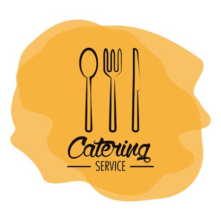 フォーク スプーン ナイフや刃物のアイコン。ケータリング サービスのレストラン、メニュー テーマ。ベクトル図