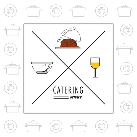 catering service: Plate chicken bowl and cup icon. Catering service restaurant and menu theme. Vector illustration