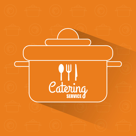 catering service: Fork spoon knife cutlery inside cooking pot icon. Catering service restaurant and menu theme. Vector illustration
