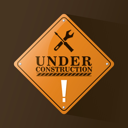 vector sign under construction: Wrench screwdriver and road sign icon. Under construction and repair theme. Colorful design. Vector illustration Illustration