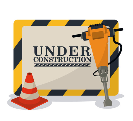 reconstruction: Barrier cone and demolishing drill icon. Under construction and repair theme. Isolated and colorful design. Vector illustration