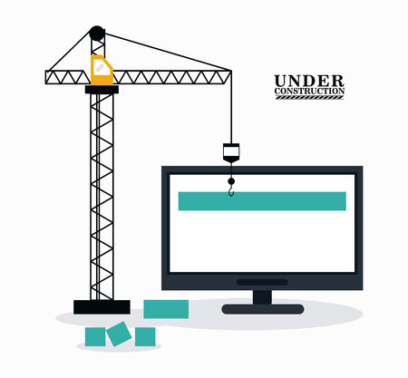 computer repair: Crane and computer icon. Under construction and repair theme. Isolated design. Vector illustration