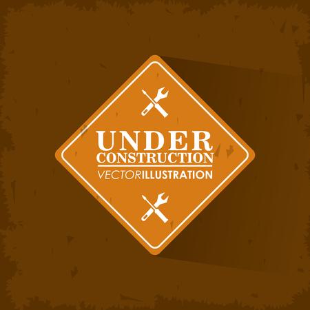 vector sign under construction: Wrench screwdriver and road sign icon. Under construction and repair theme. Grunge design. Vector illustration
