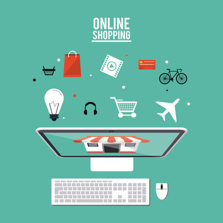 credit cart: Computer store bulb credit card cart basket movie bag airplane headphone and bike icon. Shopping online ecommerce and media theme. Colorful design. Vector illustration Illustration