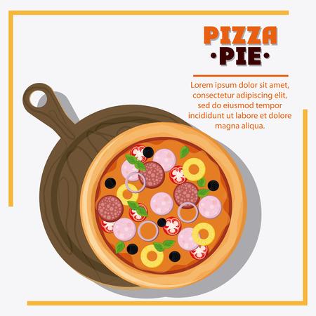 pizza y el icono de la placa. menú de comida rápida americana y restaurante temático. El diseño colorido. ilustración vectorial Ilustración de vector