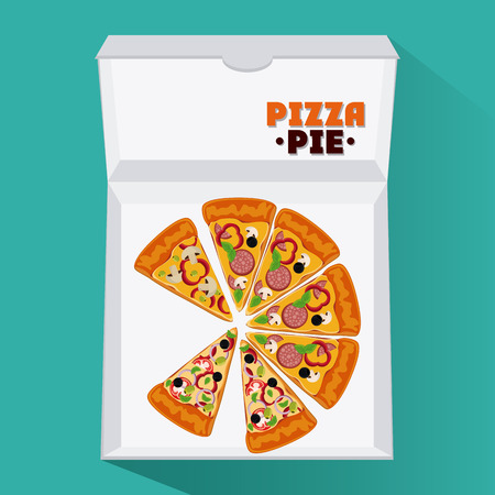 pizza pie: Pizza pie and carton box icon. fast food menu american and restaurant theme. Colorful design. Vector illustration