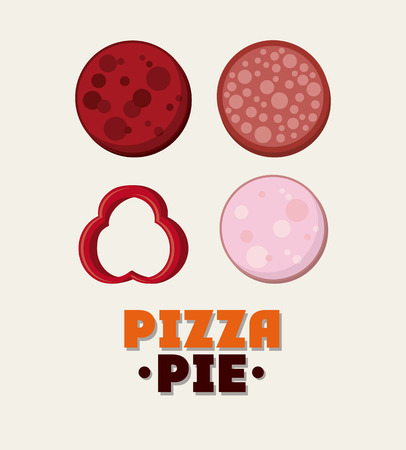 pizza pie: Salami ingredient pizza pie icon. fast food menu american and restaurant theme. Colorful design. Vector illustration