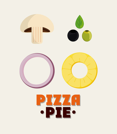 pizza pie: mushroom olive onion pineaple ingredient pizza pie icon. fast food menu american and restaurant theme. Colorful design. Vector illustration Illustration