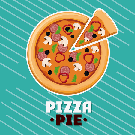pizza pie: Pizza pie icon. fast food menu american and restaurant theme. Colorful design. Striped background. Vector illustration Illustration