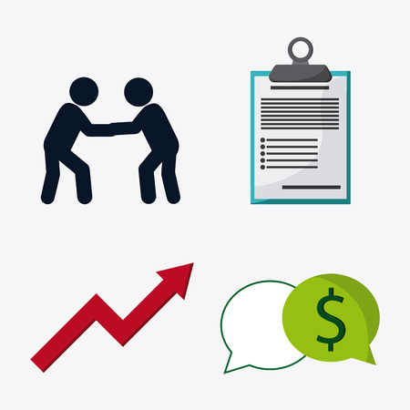 item list: pictogram arrow check list and bubble icon. Business financial item and strategy theme. Colorful design. Vector illustration