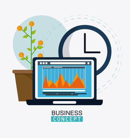 financial item: laptop infographic plant and clock icon. Business financial item and strategy theme. Colorful design. Vector illustration
