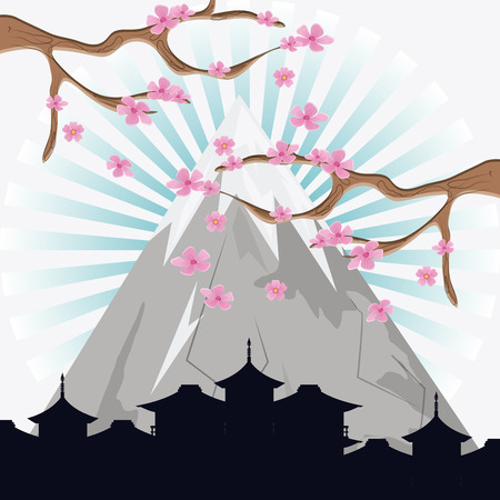 dynasty: Mountain tree and city silhouette icon. Japan culture landmark and asia theme. Colorful design. Vector illustration Illustration