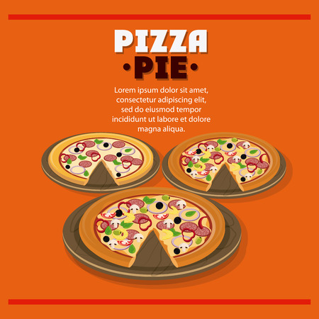pizza pie: Pizza pie and plate icon. fast food menu american and restaurant theme. Colorful design. Vector illustration